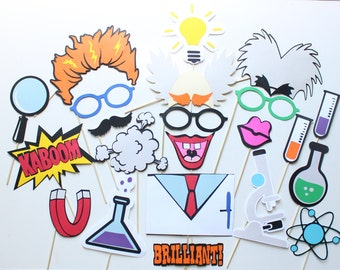 22 pc Mad Scientist Photo Booth Props/Scientist Photobooth Props/ Science Phtoboth