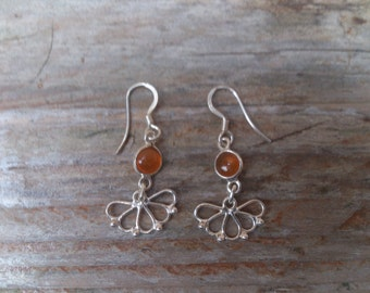 vintage sterling silver and amber drop earrings