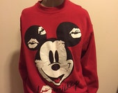 Vintage Walt Disney RED MICKEY MOUSE Classic Crew Neck Sweatshirt Sweater Jumper Top shirt Grunge Punk Goth Club Kid Disneyland size Large