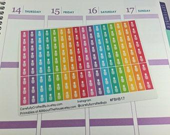 Rainbow Pineapple Checklist Planner Stickers - Checklist, Tracker, Life Planner, Kikki K, Erin Condren, Plum Paper, MAMBI, planner accessory