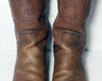 Frye Vintage Brown Leather Motorcycle Cavalry Riding Biker Boots Men's Size 13