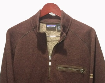 PATAGONIA Zip Up Fleece Cardigan Sweater Brown Men's Size L