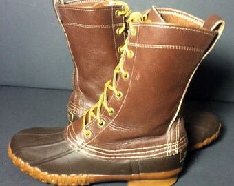 Vintage LL Bean Dark Brown Leather & Robber Duck Rain Boots Women's Size 6