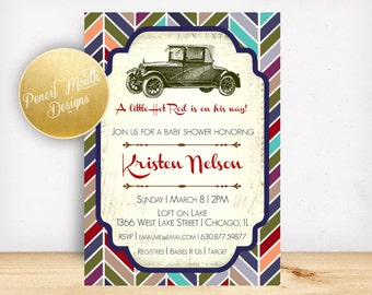 Car Baby Shower Printable Party Invitation