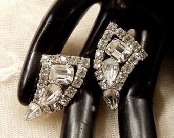 Vintage Curved Triangle Rhinestone Earrings