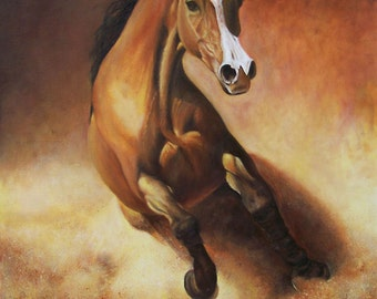 Original Painting, Gallop at Dusk, Horse ARAB Gniady, Realistic Oil Painting on Canvas 27,5 x 27,5 in.