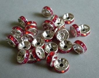 Rhinestone spacer beads.  8mm, Red rhinestone rondelles. Spacer beads.  Set of 50.