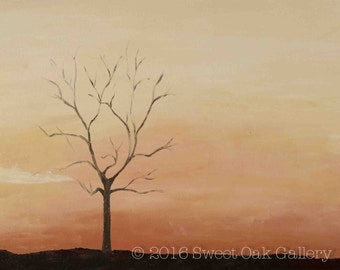 Orange Tree Silhouette Oil Painting Print, 8x10, 5x7
