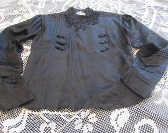 antique black silk blouse, circa 1900