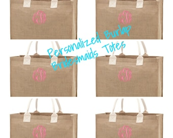 Set of 6 Monogrammed Burlap Totes Bridesmaids gifts Wedding day