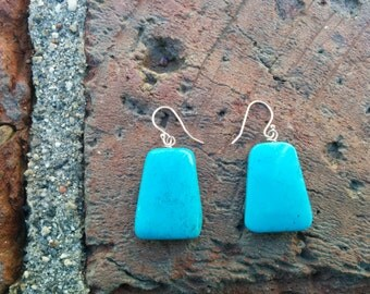 Earrings chalk turquoise and Sterling silver