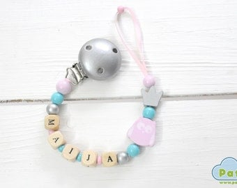 Personalized Dummy Clip, YOUR BABY NAME, Soother, Pacifier, Binky Holder, Wood Beads