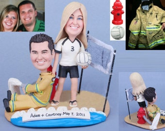 Personalised wedding cake topper - Volleyball with firefighter (Free shipping)