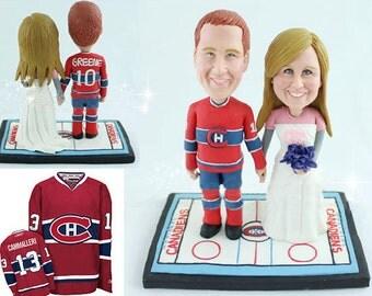 Ice Hockey wedding  - Personalised wedding cake topper  (Free shipping)
