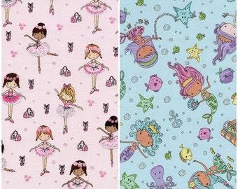 Glitter Ballerinas & Glitter Mermaids Cotton Fabric by Timeless Treasures!