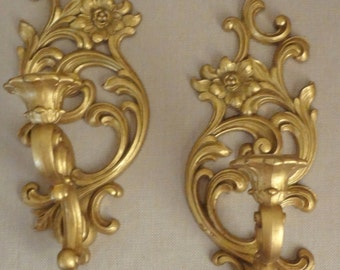 Matching Pair of Gold Color Retro Vintage Syroco Wall Hanging Candle Holders USA 1965