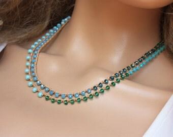 Aqua  and Tan Color   Crocheted Necklace/Five Wrap Bracelet , Boho Chic Bracelet