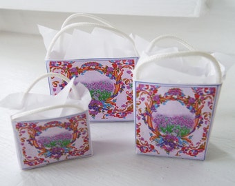 1:12 Scale Miniature Shabby gift bags dollhouse Lavender floral collection Garden