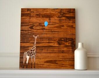 Reclaimed Wood Art Sign: Baby giraffe with balloon Nursery Home Decor
