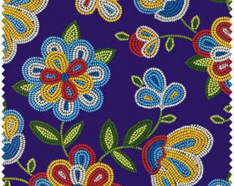 Native American beadwork designed fabric with deep purple background