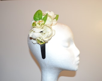 Ivory and Green Floral Head Band