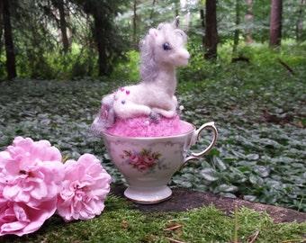 Unicorn, pincushion, teacup unicorn, wool pincushion, woodland, fantasyart , dragon, needle felting
