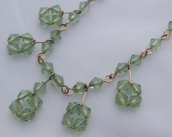 1930's/40's Vintage Necklace & Bracelet Set - Rolled Gold with Pale Green Glass Beads