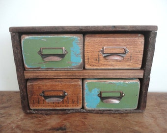 High Quality APOTHECARY BOX Cabinet Rustic Antique Wood Storage Jewelry Spices