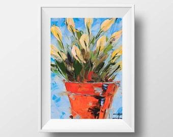 Tulip Art Print, 8x0, 11x14, Yellow Tulips, Romantic Art, Colorful Pretty Spring Print Artwork, White Tulips Still Life by Artist Lisa Elley