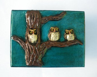 Owls Box Trinket Box Petroleum Green