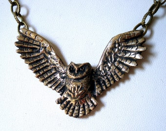 Owl Pendant Necklace  Great Horned Owl