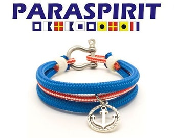 "Paraspirit ""HELSMAN"" Nautical Rope Bracelet with Stainless Steel Shackle & Anchor Charm"