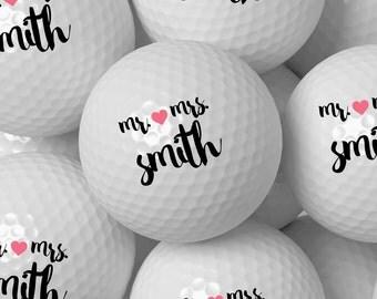 Custom Golf Ball Wedding Favor, Personalized Golf Balls Bulk Pricing 50 100 200 250 300 - Design 56