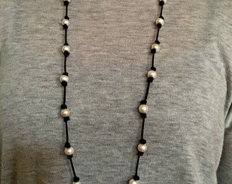 Long pearl necklace -black leather and pearl necklace- freshwater pearl necklace