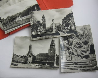 CALAIS: Age old envelope with 10 mini photographs in black and white. Souvenir. France. Probably 1930s. Vintage