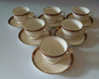 Homer Laughlin Pattern HLC3917 Set Of Six Cup & Saucer Sets