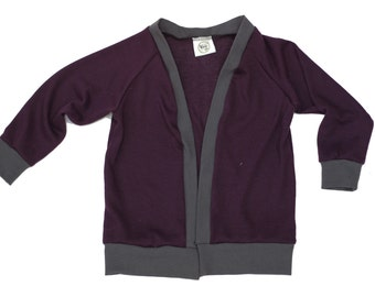baby cardigan, plum toddler cardi, infant sweater, dark purple jumper