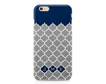 Navy and Grey Quatrefoil Phone Case, Custom Phone Cover, Minimalist Phone Case, Pretty Phone Case, iPhone 7, Samsung Galaxy
