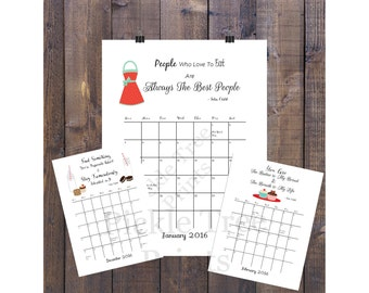 2016 Printable Calendar with Julia Child Quotes. 50% off with code 2016GreatYear