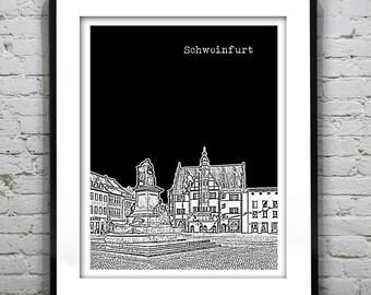 Schweinfurt Germany City Skyline Poster Art Print