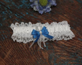 Brides Wedding Garter - With Hand Made Bow - Royal Blue Wedding Garter (All Colours Available)