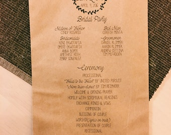 Rustic Kraft Bag Wedding Programs with leaves-100 Count