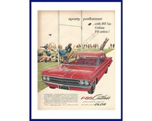"""OLDSMOBILE CUTLASS AUTOMOBILE Original 1961 Vintage Extra Large Color Print Ad - """"Sporty Performer With 185 h.p. Cutlass V-8 Action!"""""""
