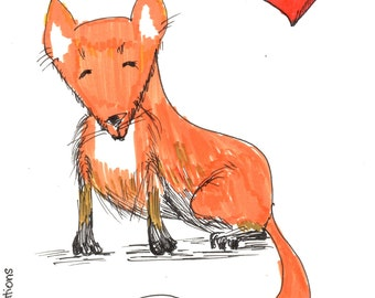 Fox Love, Handmade postcard, original, 5.5in x 4.25in