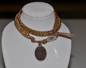 SALE! Double Wrap Bracelet Golden Crystal #505