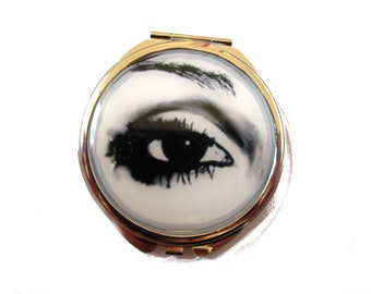 Eye Pocket Mirror, Black and White Eye Mirror, Open Eye, Unique Mirror, Eye Accessory, Unusual Mirror, Black and White, Eyes, Compact Mirror