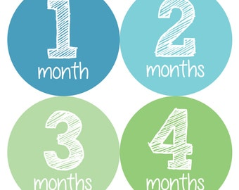 Baby Monthly Stickers, Monthly Baby Boy Stickers, Baby Month Milestone Stickers  - Baby Boy, Baby Shower Gift, Green, Blue