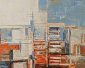Abstract painting, brown, orange and blue, modern, minimalist large canvas art 39.37/27.5(100/70cm). Free shipping. City levels