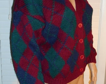 ON SALE Vintage 80's Argyle Cardigan Sweater