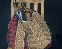 Naga tribal textile waxed cotton tote bag leather handles hand woven ethnic cotton tote bag ethnic boho fabric. Minor Bodies
